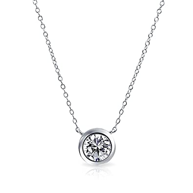 Amazon bling jewelry bezel set round cz solitaire pendant bling jewelry bezel set round cz solitaire pendant stelring silver necklace 16 inches mozeypictures Image collections