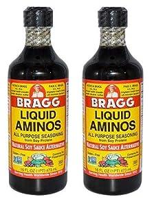 Bragg Liquid Aminos All Purpose Seasoning Soy Sauce Alternative, 32 Fl Oz, 2 Pack