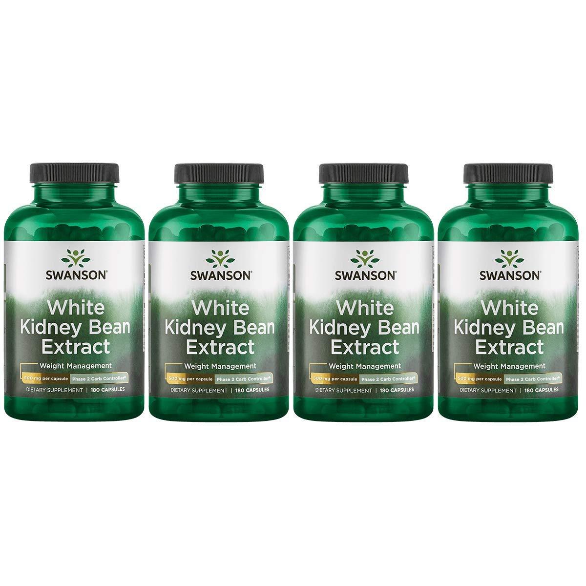 Swanson White Kidney Bean Extract 500 mg 180 Caps 4 Pack