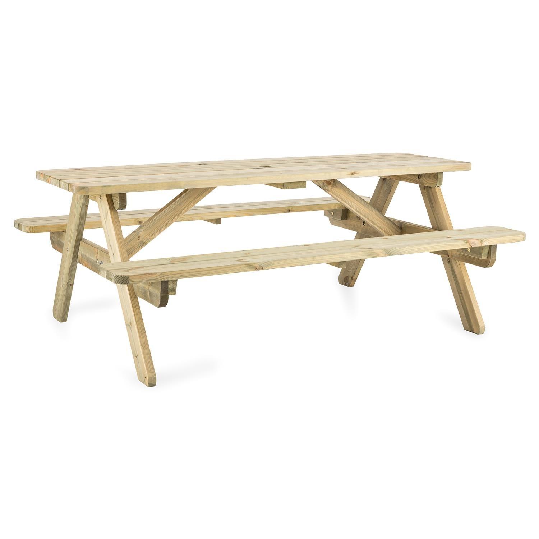 Blumfeldt Picknicker 180 • Picknicktisch • Gartentisch • Garnitur • Tisch mit 2 Sitzbänken • 180 x 70 x 128 cm • skandinavisches Kiefernholz • FSC-zertifiziert • abgerundete Ecken • Kesseldruckimprägn