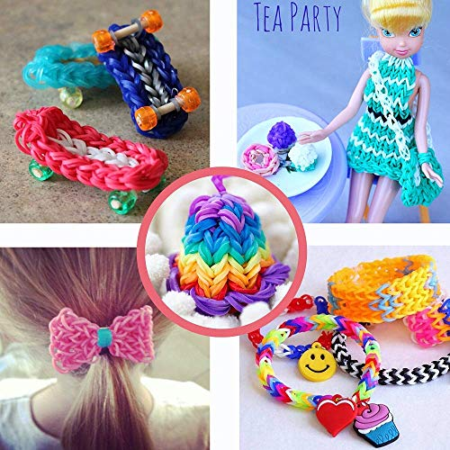 Rainbow Color Loom RubberBands Kit Colorful Bands Refill Bracelet Making Set Including6800 Pcs Rubber Loom Bands 200 Pcs Slips 100 Beads 15 Charms 8 Tools More for DIYWeaving Crafting by Bomach (Image #4)