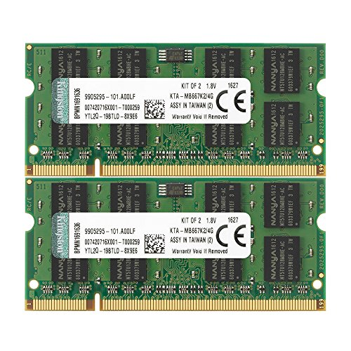 Kingston 4 GB DDR2 SDRAM Memory Modules 4 GB (2 x 2 GB) 667MHz DDR2667/PC25400 DDR2 SDRAM 200pin ()
