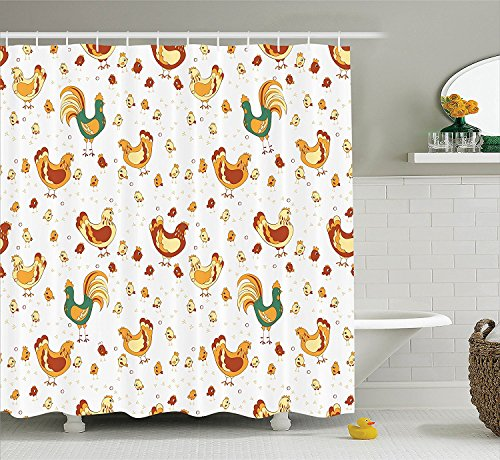 [Gallos Decor Collection Rooster Hen and Chicks Dotted Background Family April Eggs Feast Field Grassland Image Polyester Fabric Bathroom Shower Curtain Set with Hooks Bronze] (Chick Magnet Costume Walmart)
