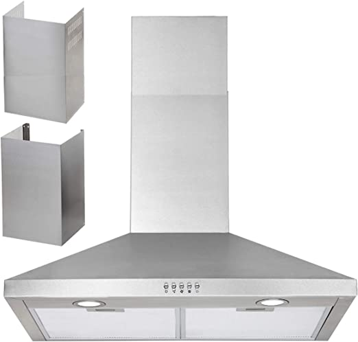 Range Hood 30 Inch Wall Mount In Stainless Steel For High Ceiling Kitchen Chimney Upto 11 Ft 450 Cfm Ducted Ductless Convertible Stove Vent Hood 3 Speed Exhaust Fan Low Noise Push