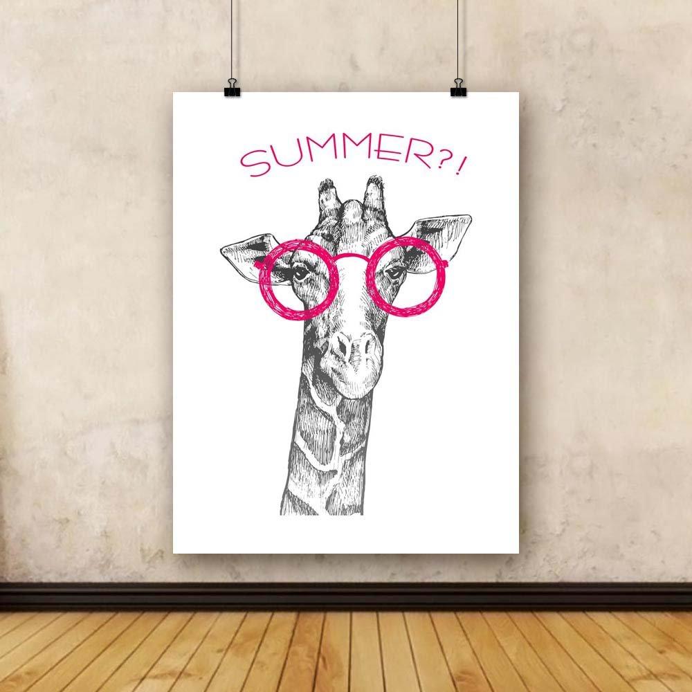 Pitaara Box Giraffe x Hipster Unframed Canvas Painting 30 x Giraffe 40inch 6497ab