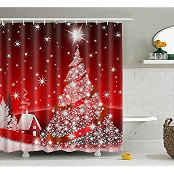 3d Christmas Night 8 Shower Curtain Waterproof Fiber Bathroom Windows Toilet Excellent In Quality