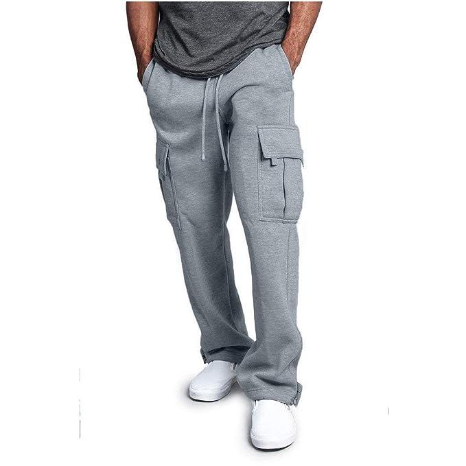 Zilosconcy Moda Color Sólido Pantalones Largos para Hombre ...