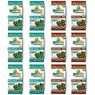 gimMe Organic Roasted Seaweed - Sea Salt & Teriyaki Variety Pack - Source of Vitamin C, Iodine, Omega 3's - 12 Count - Keto, Vegan, Gluten Free - Healthy On-The-Go Snack for Kids & Adults