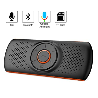 Aigoss Handsfree Bluetooth for Cell Phone, Car Bluetooth Speakerphone with Siri and Google Assistant, Wireless Car Kit Music Speaker Supports 2 Phones Connection Simultaneously: Home Audio & Theater
