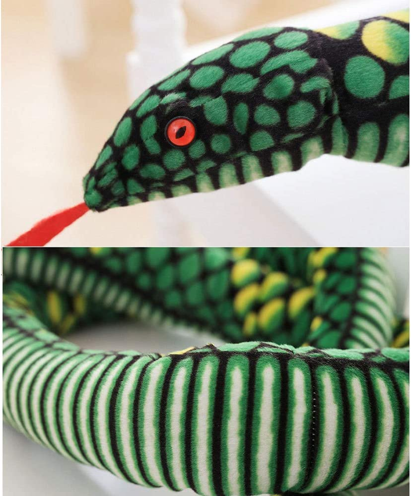 Plush Snake Toy Giant Snake Lifelike Animal Doll Kids Boys Girls Birthday Gift Halloween Tricky,Blue