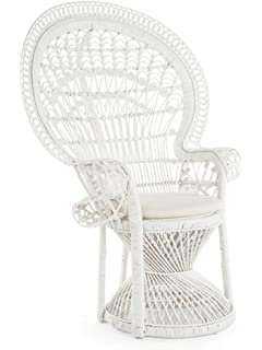 KOUBOO 1110023 Grand Pecock Chair Peacock Rattan With Seat Cushion, Large,  White
