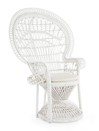 Astonishing Kouboo Pecock Grand Peacock Chair In Rattan With Seat Cushion White Large Ncnpc Chair Design For Home Ncnpcorg
