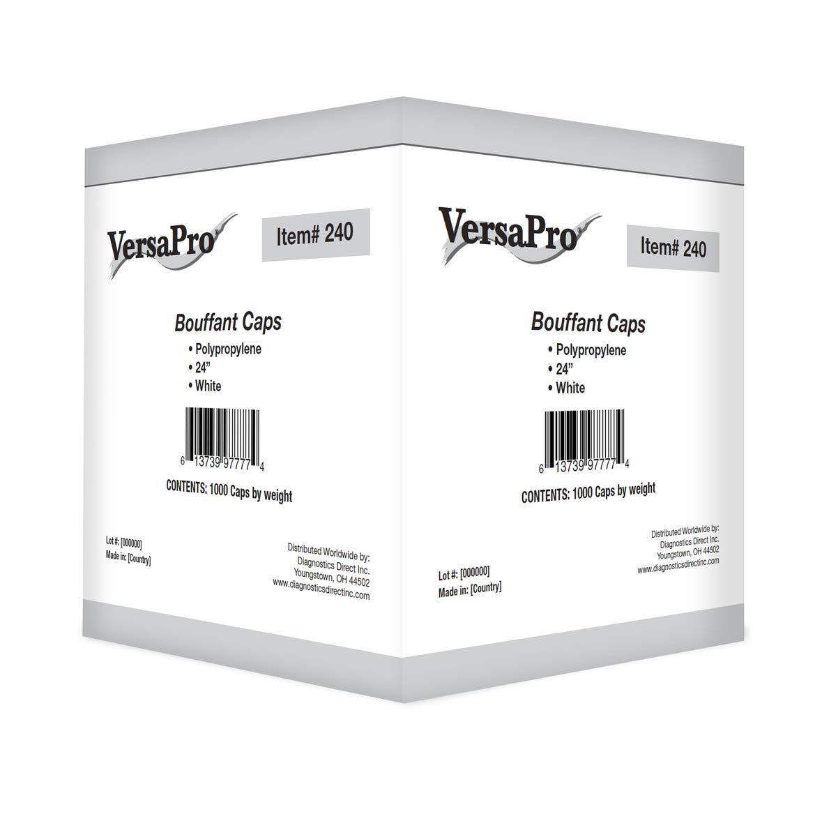 VersaPro 240 24'' Disposable Hair Net, Polypropylene, White 100/Sleeve (Case of 1000)