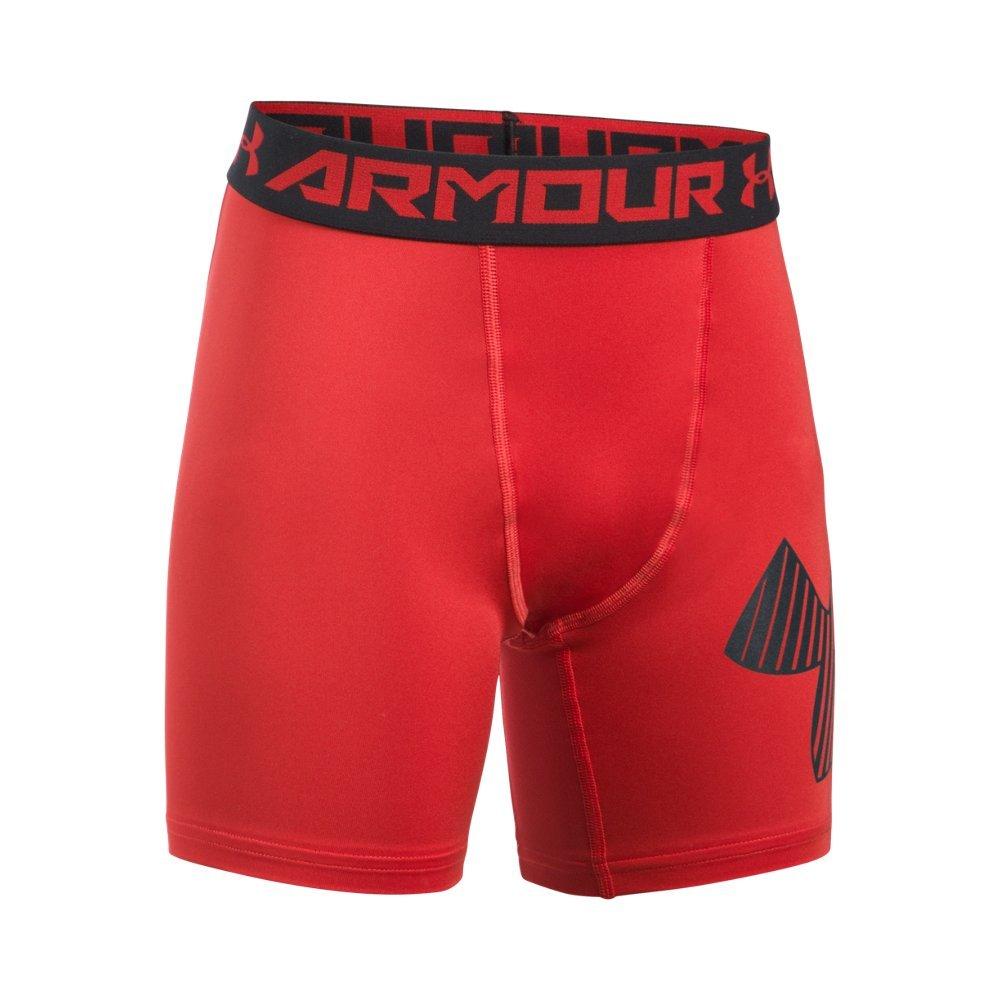 Under Armour Boys' HeatGear Armour Mid Shorts, Red /Black, Youth X-Small