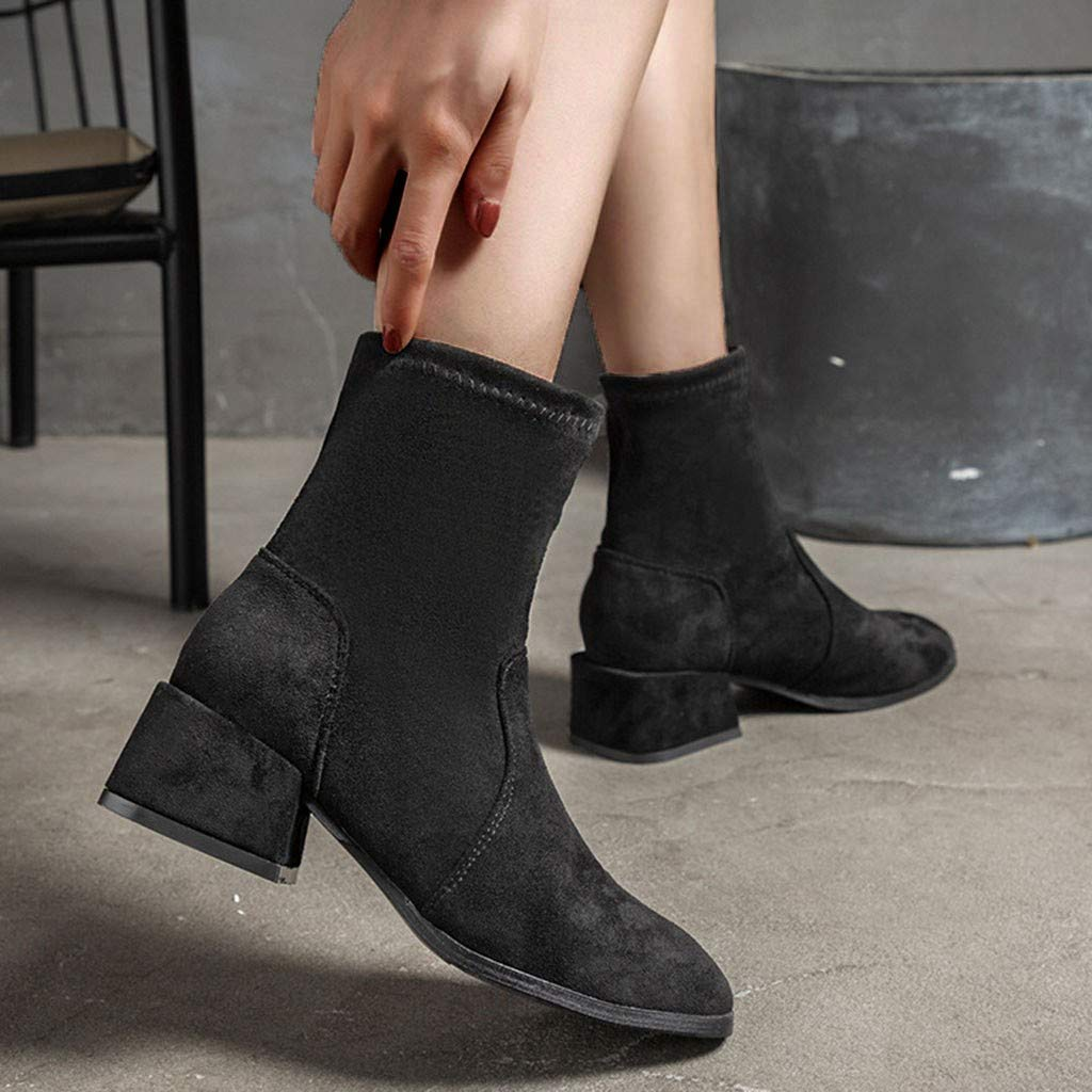 Women's Suede Chunky Heel Boots | Wide Width Pointed Toe Ankle Boot for Women | Casual Winter Slip On Short Booties Shoes by Leadmall-Boot