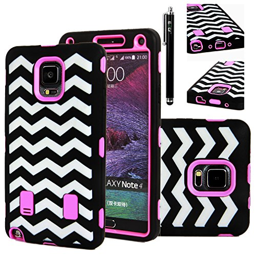 Note 4 Case, E LV Galaxy Note 4 Case Cover - Shock-Absorption / High Impact Resistant Full Body Hybrid Armor Protection Defender Case Cover for Samsung Galaxy Note 4 with 1 HD Screen Protector, 1 Stylus and 1 Microfiber Cleaning Cloth - ZIGZAG HOT PINK