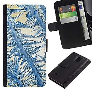 All Phone Most Case / Oferta Especial Cáscara Funda de cuero Monedero Cubierta de proteccion Caso / Wallet Case for Samsung Galaxy Note 4 IV // Crystal Sun Blue White Winter