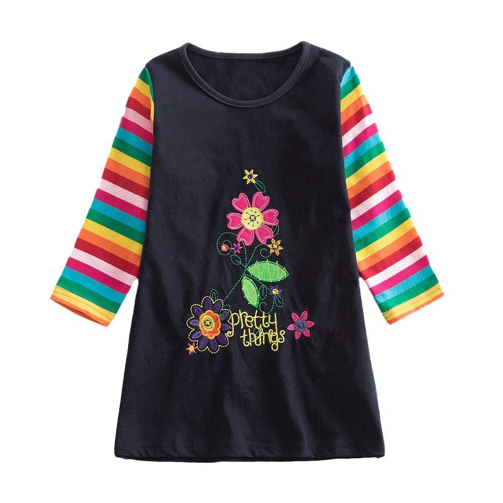 Niñ a Blusa 1-6 añ os, Blusa de Niñ a pequeñ o Invierno Camiseta de Floral impresió n Cuello O Suave y Suelto Manga Larga para Lindo chaicas Elegante Niñ a Yesmile