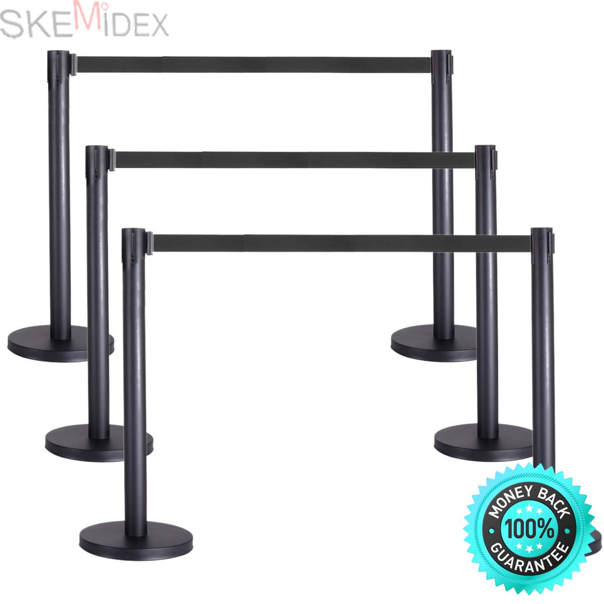 SKEMiDEX---6pcs Retractable Belt Stanchion, 3 Sets, Black Belt, Crowd Control Barrier. Retractable belt stanchions are widely applied in shopping centre, hotel, bank, hospital, station, airport