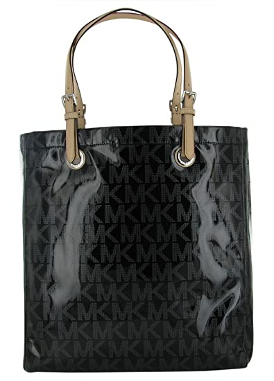 380eb196adb7 Amazon.com : Michael Kors Jet Set Item MK Signature Mirror Metallic Item North  South Tote 38T1CTTT3Z (Black) : Beauty