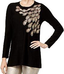 Alfani Womens Metallic Embellished Tunic Top