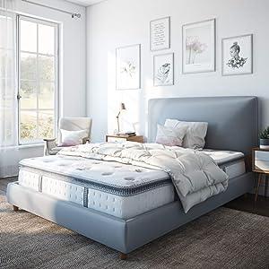 "Classic Brands Mercer Pillow Top Cool Gel Memory Foam and Innerspring Hybrid 12"" Mattress, Queen, White"