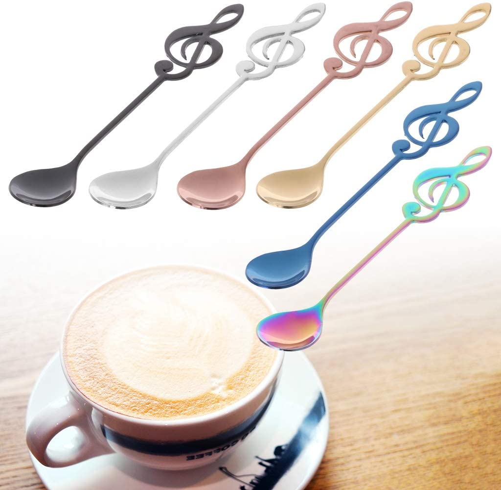 Qintaiourty Stainless Steel Musical Note Shape Coffee Spoon Tea Stirring Spoon Creative Cutlery Tableware Kitchen Tool Spoon