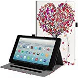 Fintie Case for All-New Amazon Fire HD 10 Tablet (7th Generation, 2017 Release) - [Multi-Angle Viewing] Folio Stand Cover with Pocket Auto Wake/Sleep for Fire HD 10.1 Inch Tablet, Autumn Love