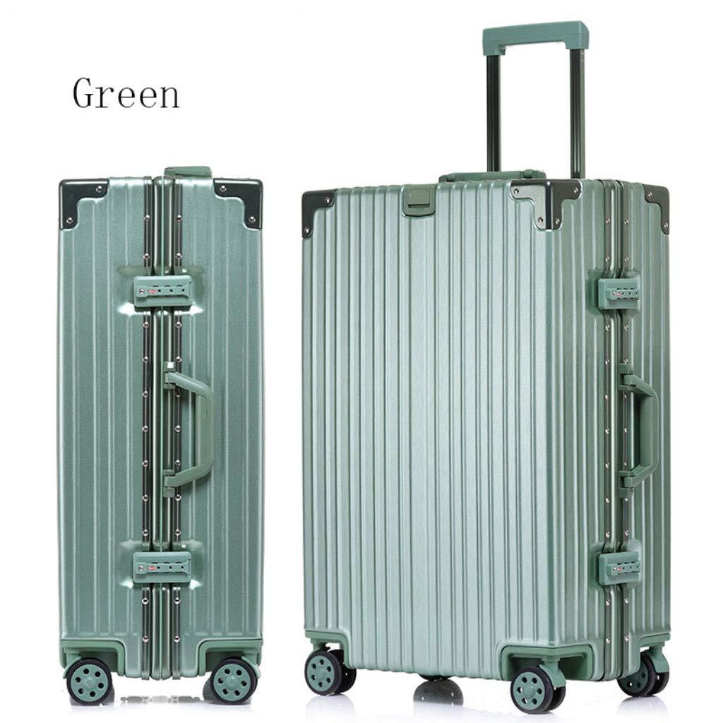 アルミフレームトローリーケースパスワードロックスーツケースユニバーサルホイール荷物のスーツケース (Color : 緑, Size : 26 inches)   B07R7SB4TC