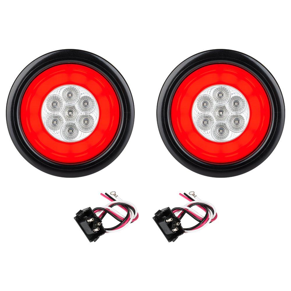 Lumitronics RV HALO LED 4'' Sealed Round Stop/Turn/Tail Lights (Clear Pair) by Lumitronics