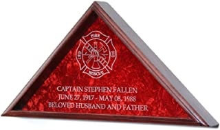 product image for All American Gifts Firefighter Burial Flag Display w/Engraved Maltese Cross - for 5x9.5 Funeral Flag - Includes 3 Lines of Text Personalization - Solid Oak w/Cherry Finish