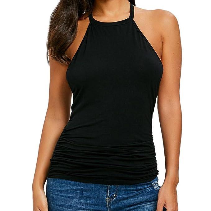 ASHOP Camisetas Muje, Camisetas Sin Mangas Tallas Grandes EN Oferta Suelto Tops Blusas de Mujer Elegantes de Fiesta Baratas Verano Cordón T-Shirt Vest Moda ...