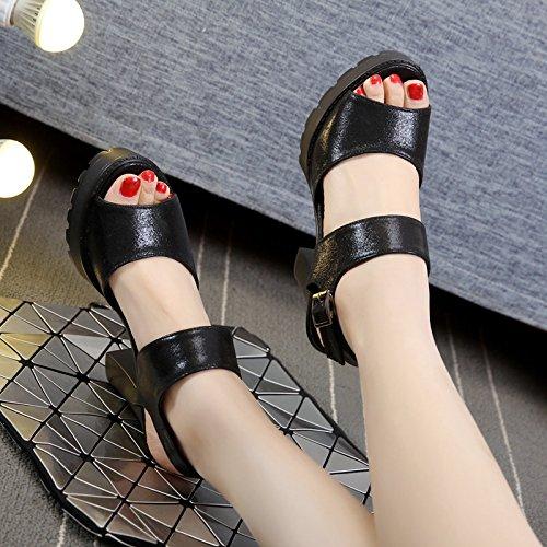 Sandales Spéciale D'épaisseur Champ Shoeshaoge Femme High Tempérament Mince heeled Eu36 Boucle Noir Vidéo Avec q6xICEE5w