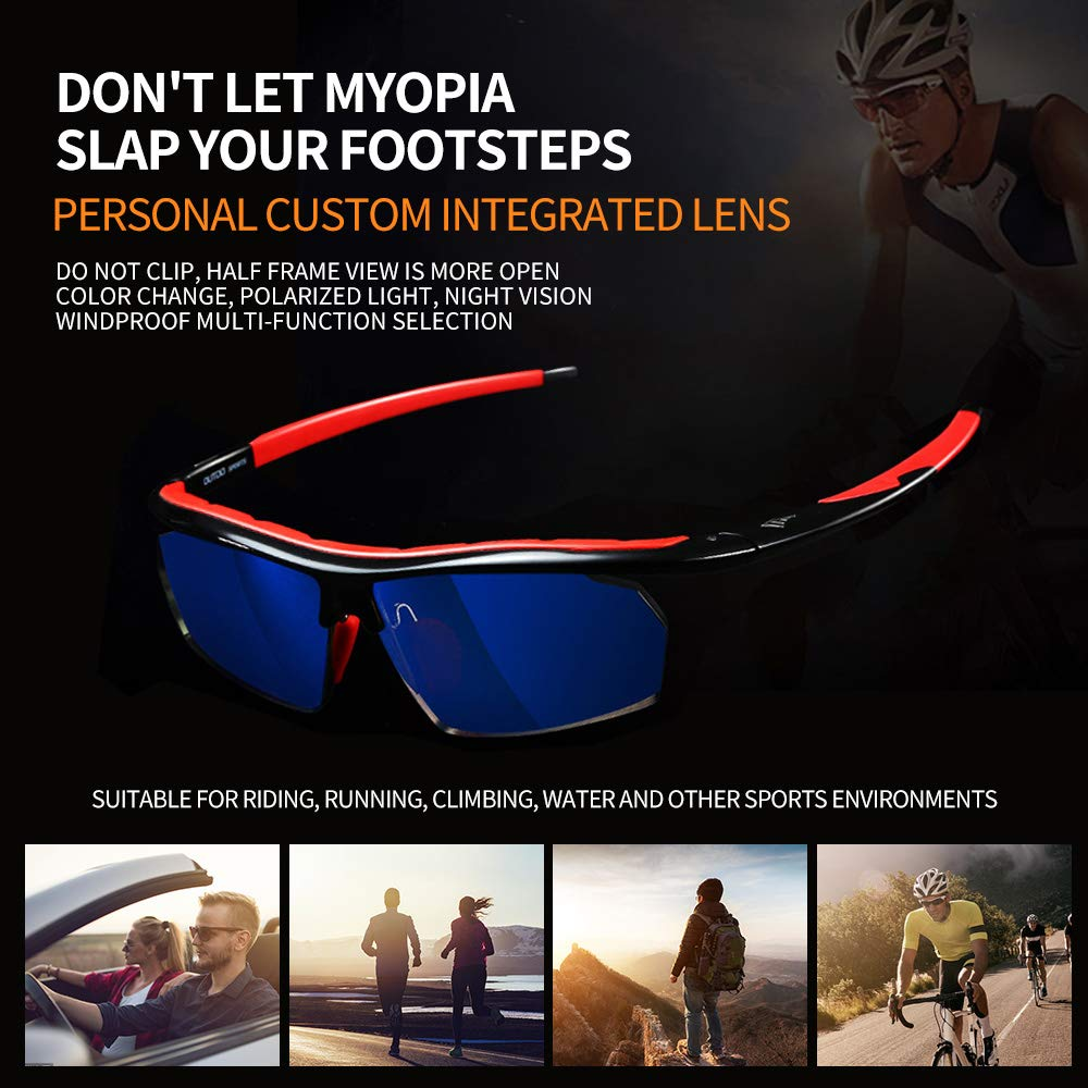 efb6eef3c84c Amazon.com  Gao Te outdo cycling glasses myopia custom one color change  polarized windproof men s own mountain bike running sports glasses (A  discolored ...