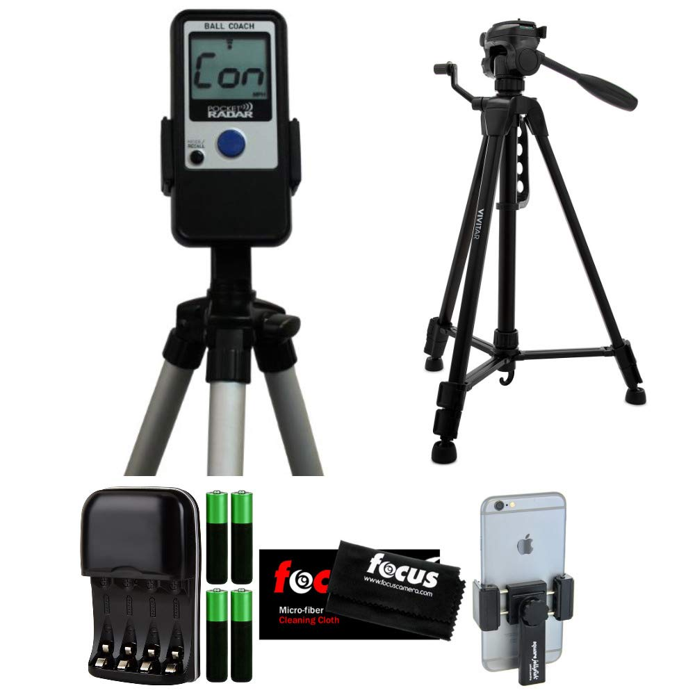 Pocket Radar Ball Coach/Pro-Level Speed Training Tool and Radar Gun + Vivitar VPT2457 57-Inch Tripod + Pocket-Sized Spring Tripod Mount for Smartphones + Battery Charger + Cleaning Cloth