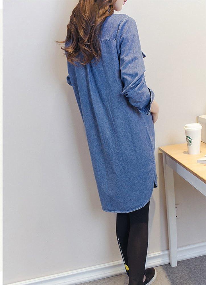 f115a22881f Maternity Long Sleeve Long Denim dress Moda camisa de mezclilla falda para  mujeres: Amazon.es: Ropa y accesorios
