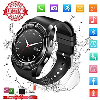 Smart Watch,Bluetooth Smartwatch Touch Screen Wrist Watch with Camera/SIM Card Slot,Waterproof Phone Smart Watch Sports Fitness Tracker Pedometer for ...
