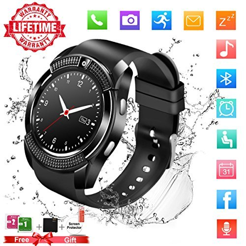 Smart Watch,Bluetooth Smartwatch Touch Screen Wrist Watch with Camera/SIM Card Slot,Waterproof Phone Smart Watch Sports Fitness Tracker Pedometer for Android iPhone IOS Huawei Sony for Women Men Kids by Topffy