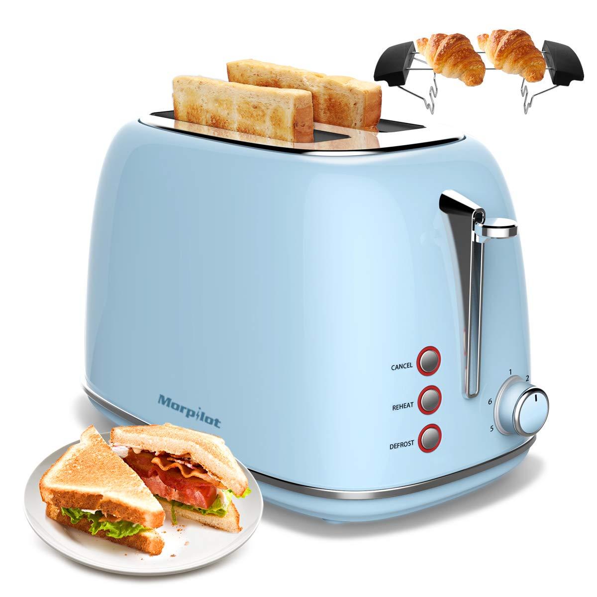 blauer retro edelstahl toaster mit broetchenaufsatz