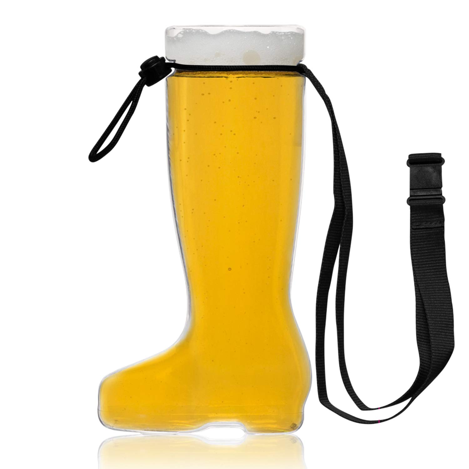 Unbreakable 1L Oktoberfest German Beer Boot Stein with Lanyard (44 oz.)- Das Boot- Large Plastic Beerfest Beer Glass- Made in USA