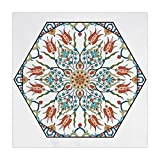 Polyester Square Tablecloth,Antique,Ottoman Turkish Floral Pattern Tulips Medieval Baroque Effect on Dated Islamic Art,Multicolor,Dining Room Kitchen Picnic Table Cloth Cover,for Outdoor Indoor