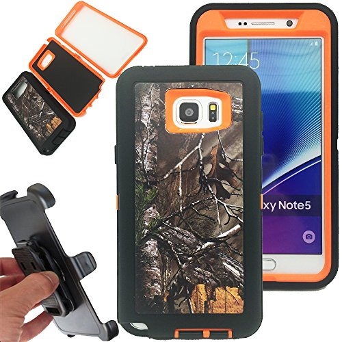 Kecko® Shockproof Dirt proof Military Grade Drop Scratch Resistant Hybrid Bumper Full Body Protective Camo Case with Belt Clip Holster for Samsung galaxy Note 5 (Xtra Orange)