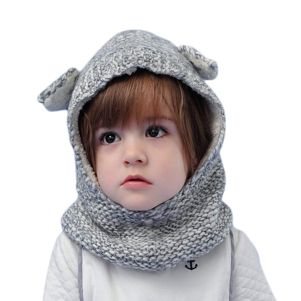 Arcweg 2 in 1 Baby Kids Winter Hat Scarf Set Warm Hoods 100% Acrylic Knitted with Fleece Lining Super Soft