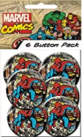 C&D Visionary Marvel Comics Retro Spiderman Comics Prepack Buttons (6 Piece), 1.25""