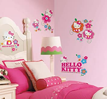 Hello Kitty   Floral Boutique Peel U0026 Stick Wall Decals 10 X 18in