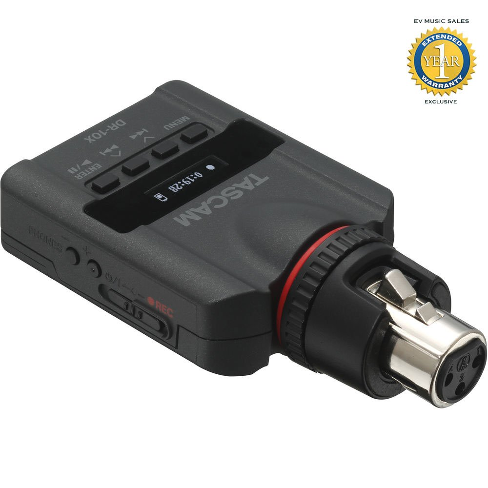 Tascam DR-10X Plug-On Micro Linear PCM Recorder for XLR Connection with 1 Year Free Extended Warranty
