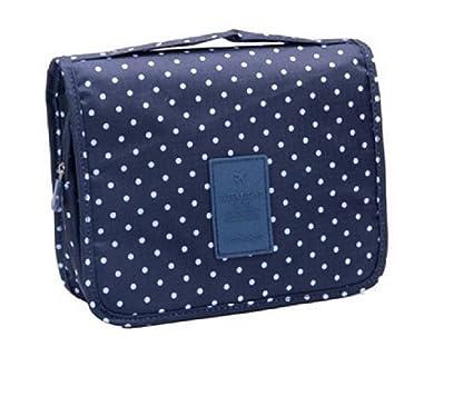 Bolsa de aseo / Organizador especialmente concebido para los viajes, el maquillaje y artículos de higiene personal - tamaño L (de lunares / Azul ...