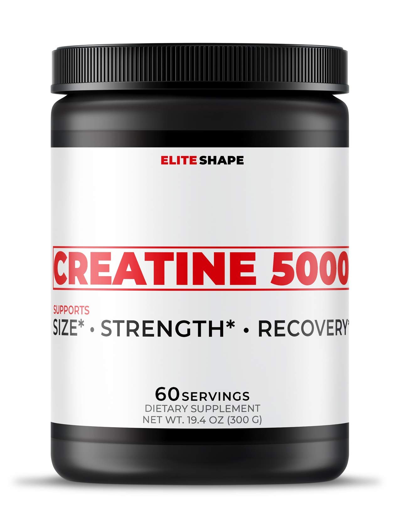 Creatine 5000 by Elite Shape | Sports Nutrition Dietary Supplement | Increase Muscle Growth and Strength | Pure Creatine Monohydrate | 60 Servings (3)