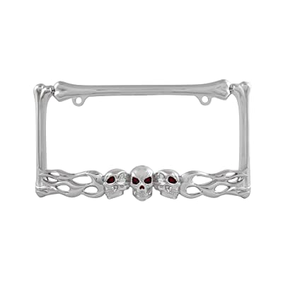 Pilot Automotive WL263-C Chrome 'Skull and Flame' License Plate Frame: Automotive