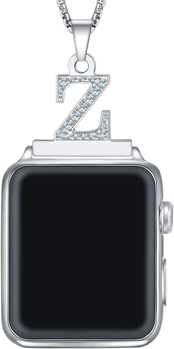 Callancity 2in1 Crystal Diamond Alphabet Letter A-Z Necklace Pendant Watch Connector Adapter Stainless Steel Platinum Plated Box Chain Compatible for Apple Watch Series 5/4/3/2/1 42mm 44mm (Z)